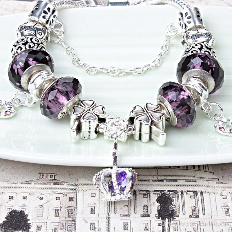 Unique Silver Bead Charm Crystal Clover Pendant Love Heart Beads Fit Women Cuff Bracelets & Bangles DIY Jewelry Valentine's Gift D184S