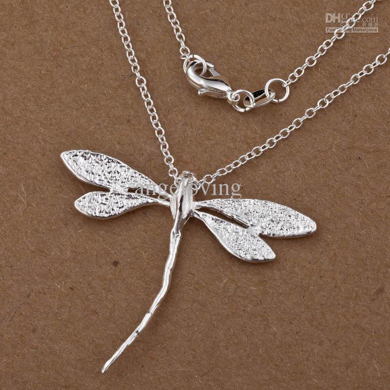 Ювелирные изделия 925 серебро Стрекоза подвески ожерелье 18inch 40шт