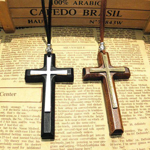 Kostenloser Versand! Neue Mode Massivholz Kreuz Halskette Antike Münzen Doppelschicht Anhänger Pullover Kette Koreanischen Stil 12 stücke