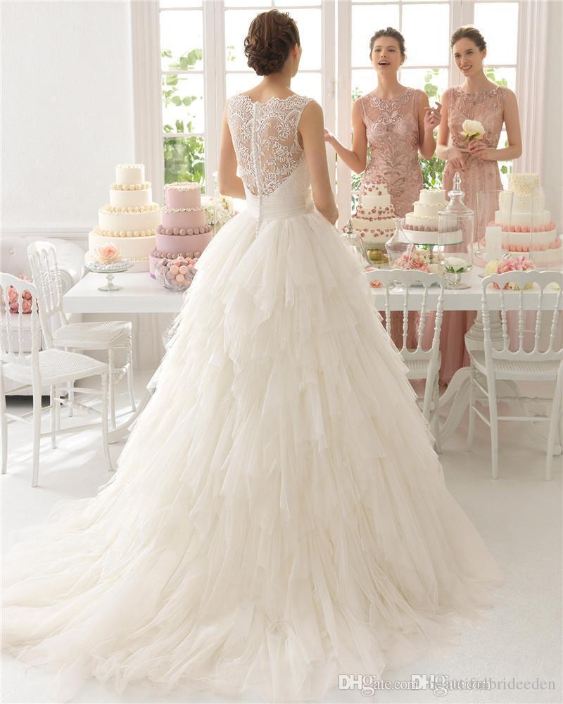 Neue Brautkleider Brautkleid mit einer Linie Full Lace Top Sheer Zurück Covered Button Elfenbein nach Maß Drop Shipping Sweep Zug