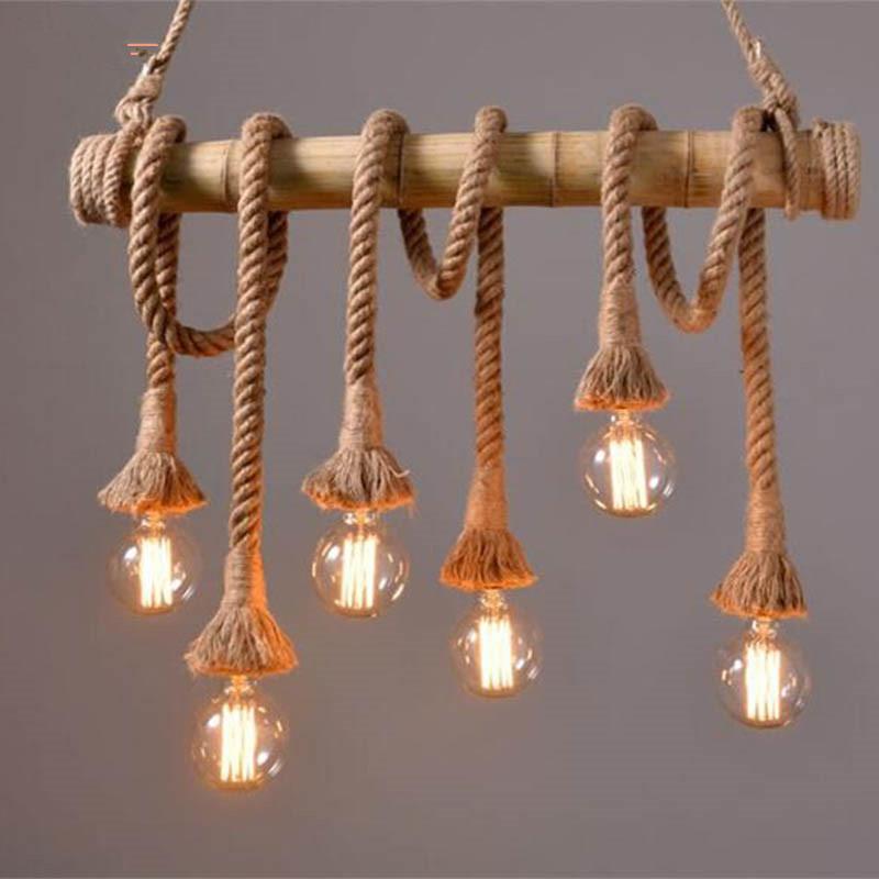 Discount Vintage Rope Bamboo Pendant Lights Loft Creative Personality  Industrial Pendant Lamps Bar Light Fixture Luminiare Hanging Lamp Pendant  Lighting ...