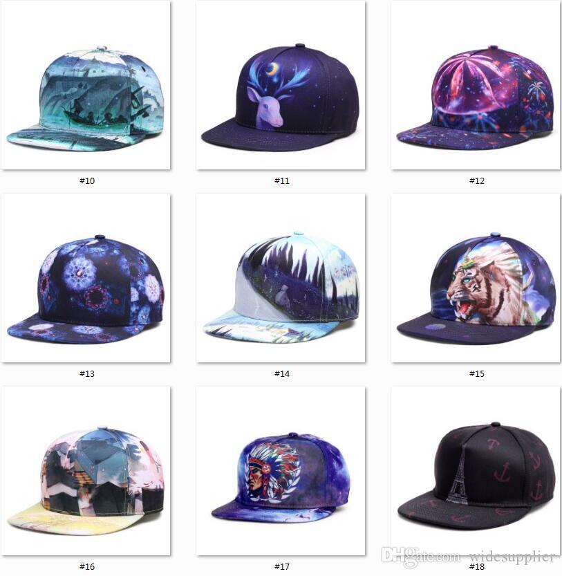 2017 Papá Sombreros Impresión 3D 34 Estilos Baloncesto Béisbol Sombreros Snapbacks Deporte Sombreros Mujeres Hombres Hip Hop Sombrero Gorras