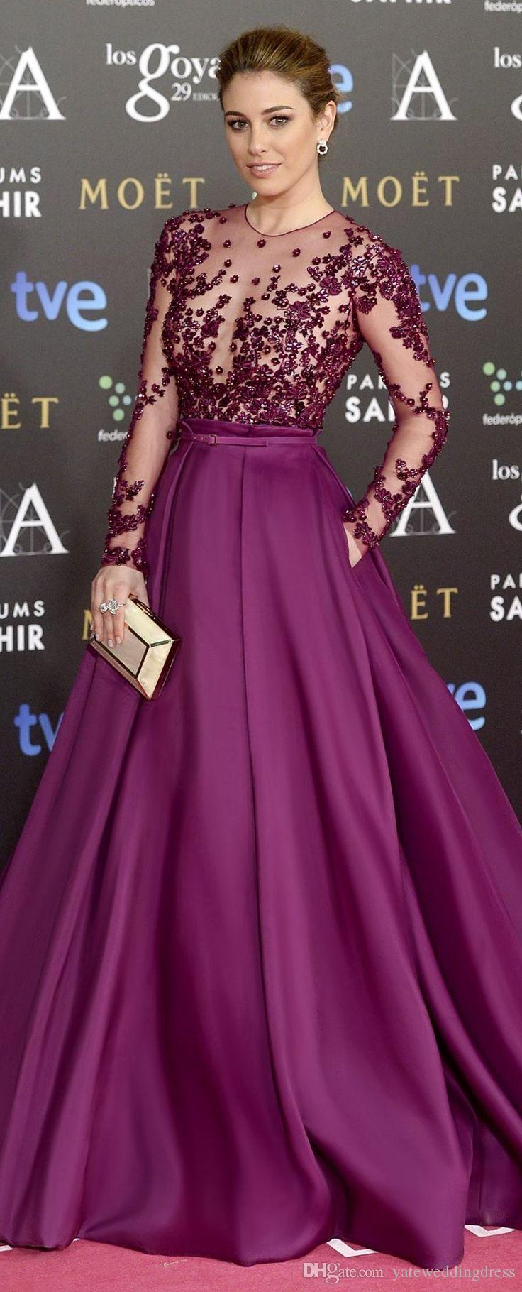 2015 robes de soirée zuhair murad bordeaux manches longues pure transparence une ligne ceinture en taffetas ceinture faite sur commande robes de soirée robe de célébrité personnaliser