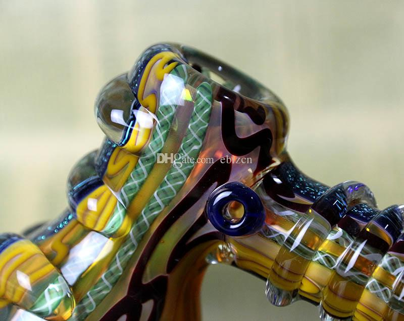 Classic Glass Smoking Pipe Hand Made Glass Water Pipe Colorfull Steady Bubbler Bong for Tobaccao DHL