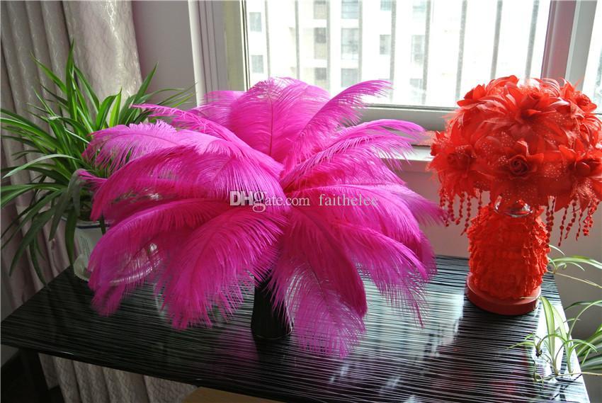 Бесплатная доставка 100 шт. / лот 14-16 дюймов 35-40 см ярко-розовый страусиные перья шлейфы фуксия для свадьбы центральные декор поставки партии декор