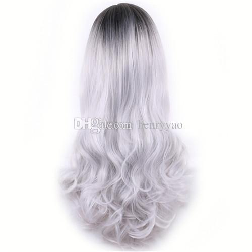 Lange günstige Cospaly Perücke Harajuku Lolita Perücke schwarz Ombre grau Körperwelle synthetische Haare mischen Farbe Perücken für Frauen synthetische Perücke