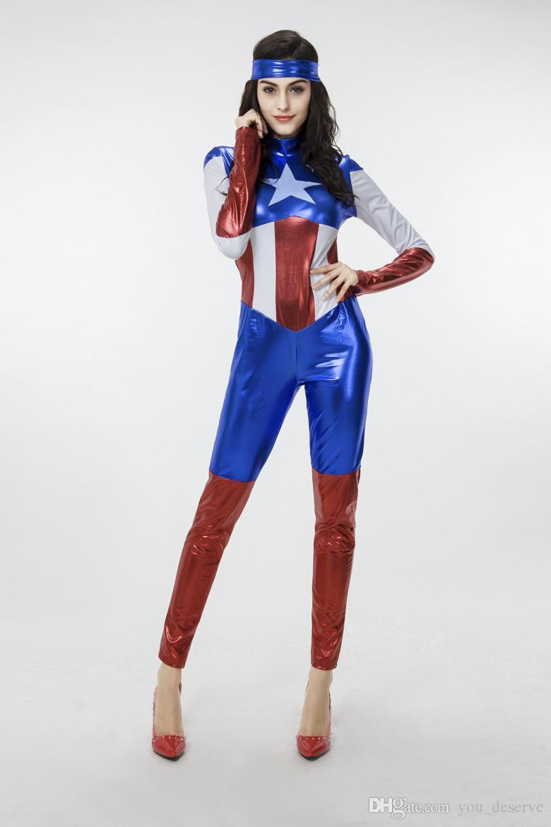 2017 New Arrival Captain America Women Jumpsuit Sexy Cosplay Halloween Costumes Gilding Spatent Leather Performance Clothing Hot Selling
