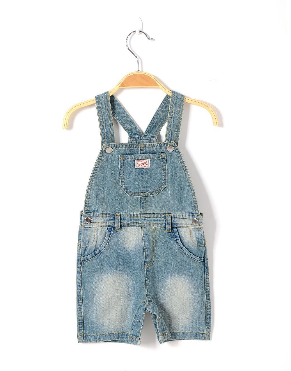 2018 Baby Boy Denim Dungaree Summer Kids Romper Newborn Jeans Shorts ...
