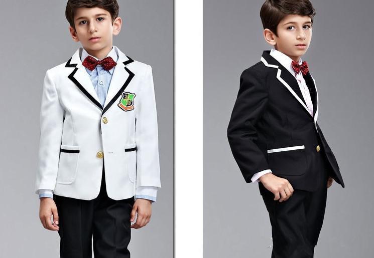 Hot Sale! Custom Made Kids\' Tuxedos Black White Boys\' Suit,Handsome ...
