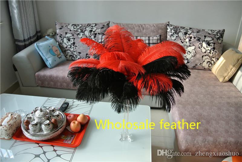 Toptan 14-16 inç 35-40 cm Kırmızı ve Siyah devekuşu tüyler tüyler Düğün centerpiece düğün Dekor parti için kaynağı