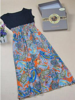 2014 Cheap Bohemian Fashion Style Vintage Print Chiffon Patchwork Long Dress For Women Summer Wear Hot Selling Clothes