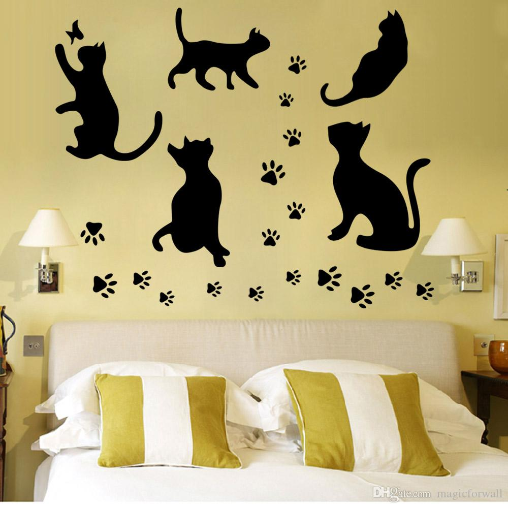 New Arrival Black Cats and Their Paws Wall Art Mural Poster Sticker Home Art Decoration Wallpaper Decal Decor