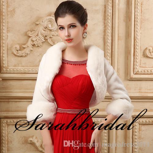 2019 Cheap Faux Fur Long Shrug Cape Stole Wrap For Wedding with Long Sleeve Free Size Bridal Prom Evening WHITE IVORY Bolero IN STOCK