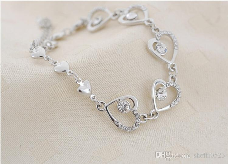 Fashion Austria Crystal Charm Bracelets Top Quality Alloy Heart bracelets Jewelry For Women Fashion Best Gift 8025
