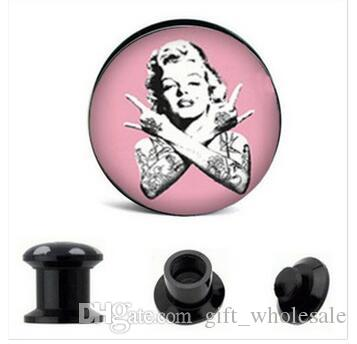 2015 New Factory Direct Wholesale Marilyn Monroe Acrylic Screw Ear Plug Flesh Tunnel 8 Sizes Body Jewelry