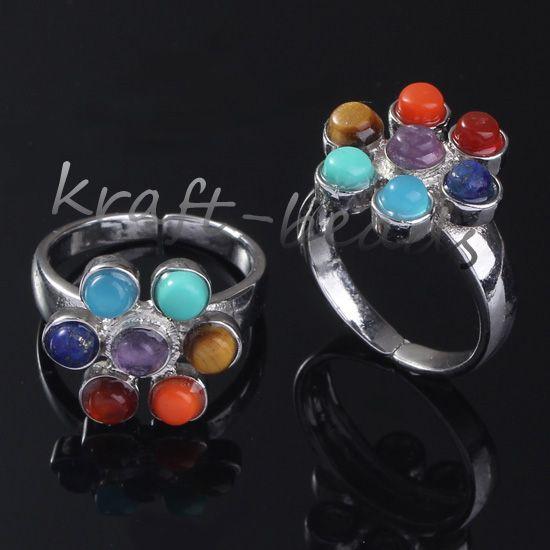 Wholesale チャームシルバーメッキ7ストーンビーズチャクラ癒しの異なるスタイル石の調節可能な指輪ジュエリー