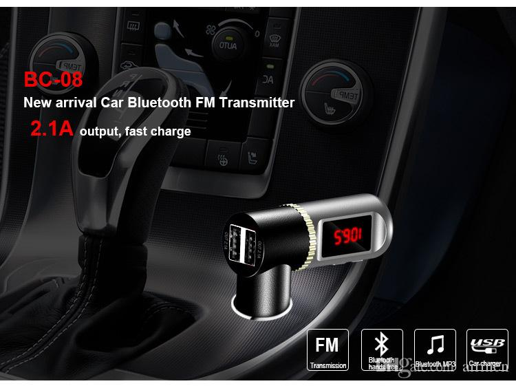 BC08 LED Display Car Audio Kit Dual USB Fast Charger Wireless Bluetooth Handsfree MP3/WMA Player Stereo FM Transmitter For Phone