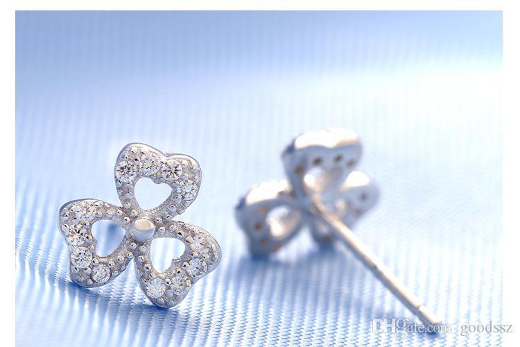 925 스털링 실버 귀걸이 패션 쥬얼리 하트 모양의 행운의 클로버 크리스탈 깜박임 깜박 스터드 귀걸이 여자를위한 여자 고품질