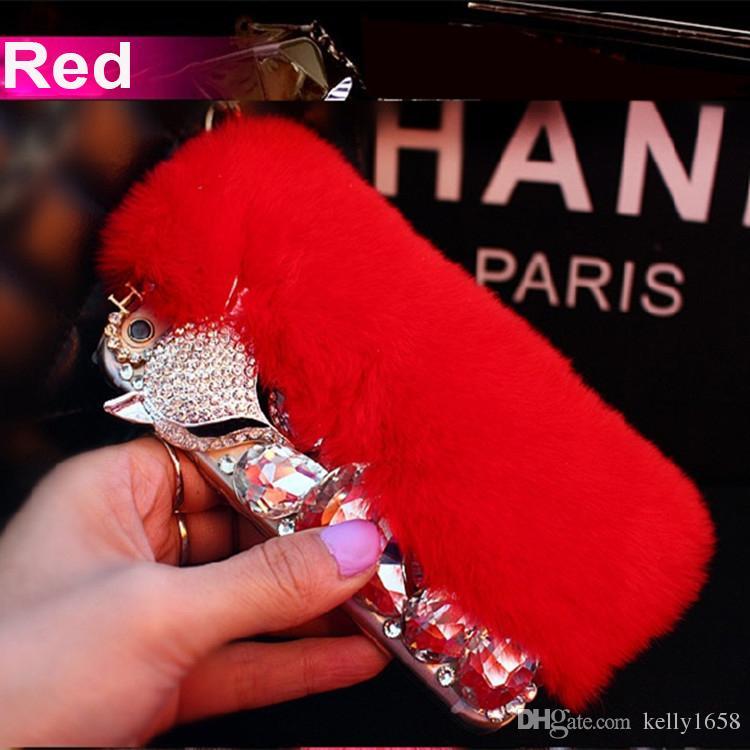 3D Luxury Bling Diamond Rabbit Fur Case Fox Head Phone Case Cover For iPhone 5s 6 6s plus 7 7 plus