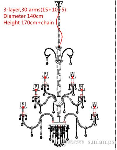 48-light large church chandelier led candle light fixture hotel long gold hanging crystal lamp chandelier with shade lustres de cristal