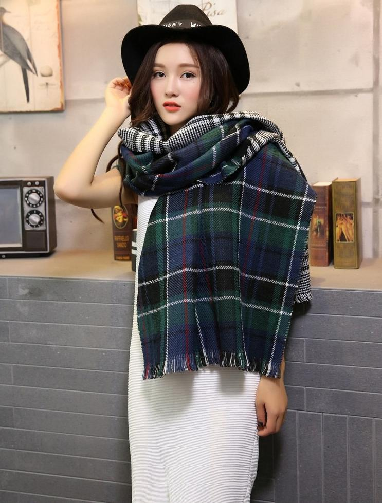 Wholesale 2015 new long oversize blanket plaid scarf Button warm wraps imitation cashmere shawl Autumn and winter