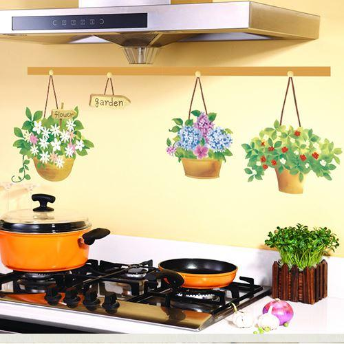 Cheap Sale Flowers Potted Oil Proof Kitchen Sticker Vinyl Wall Decor ...