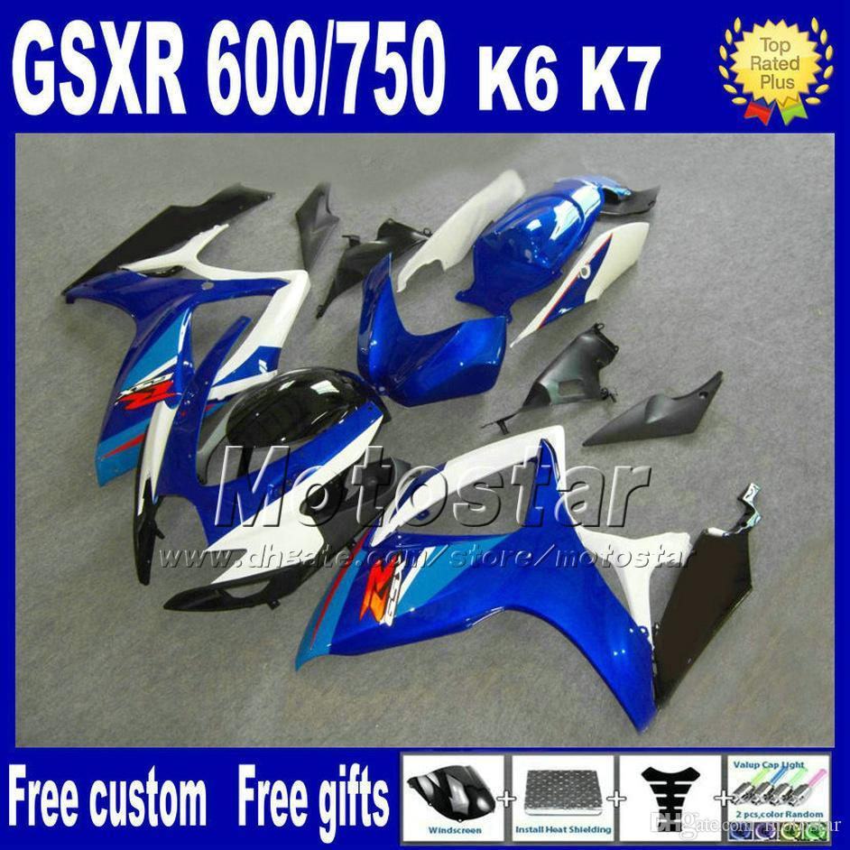ABS fairing kit for SUZUKI GSXR 600 750 06 07 K6 white blue black motobike parts GSX-R 600/750 2006 2007 fairings FS60