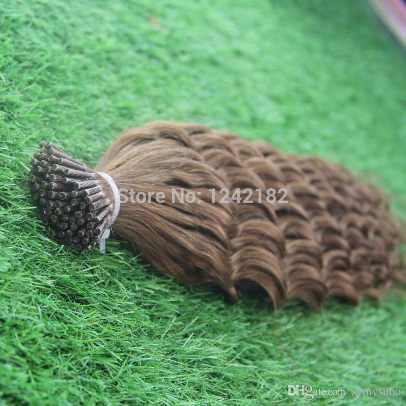 """10-30"""" Brazilian Remy Hair #8 Light Brown Natural Keratin Capsule prebonded I Tip Human Hair Extension fusion hair extensions 1.0g/strands"""