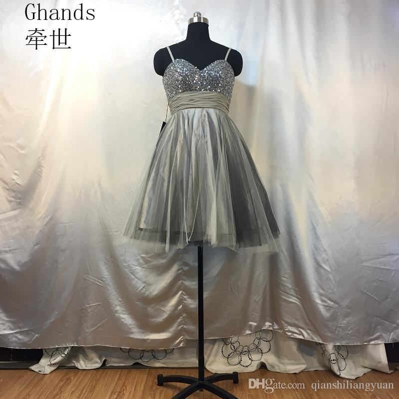 3359b321eba Ghands Cheap Spaghetti JJShouse Sweetheart A Line Sequin Tulle Plus Size  Formal Gowns Guest Knee Length Cocktail Party Dresses Customize Royal Blue  Cocktail ...