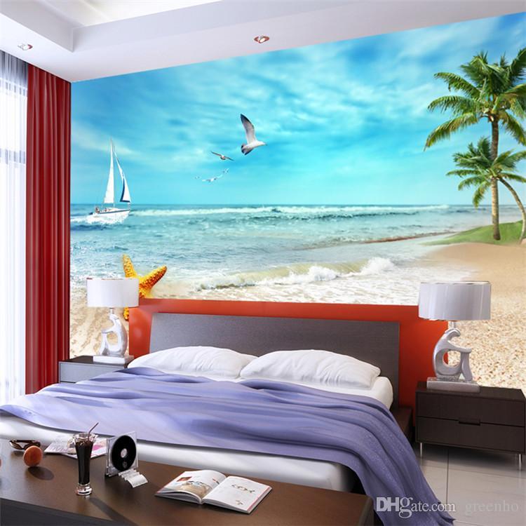 Beach View Photo Wallpaper Starfish & Coconut Trees Wall Mural ...