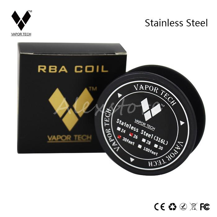 100% Original Vaportech Stainless Steel 316L Resistance Wires SS 316L Coils Heating Wire 24g 26g 28g 30g Gauge Roll for RDA RBA DHL