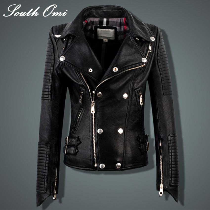 2017 Genuine Leather Jacket Women Real Sheepskin Punk Rock Real ...