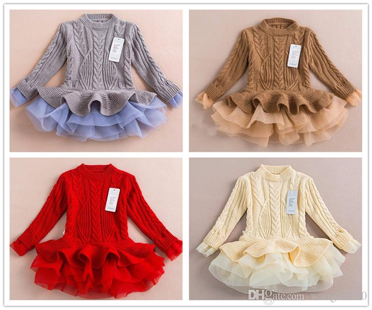 Kids Christmas Jumper Knit Lace Sweater Coat Knitted Sweater Dress ...