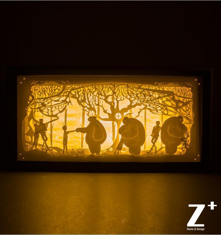 Hand Made Paper Wood Art Night Lights Children Lamp 3d