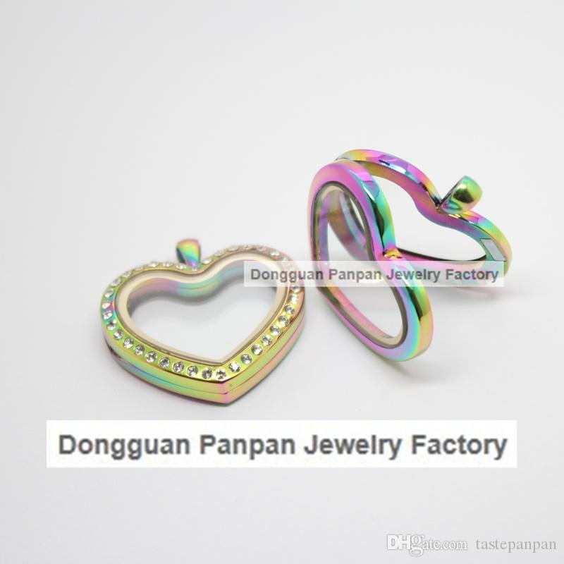 Panpan rainbow heart shape floating locket 316L Stainless steel magnetic locket pendant