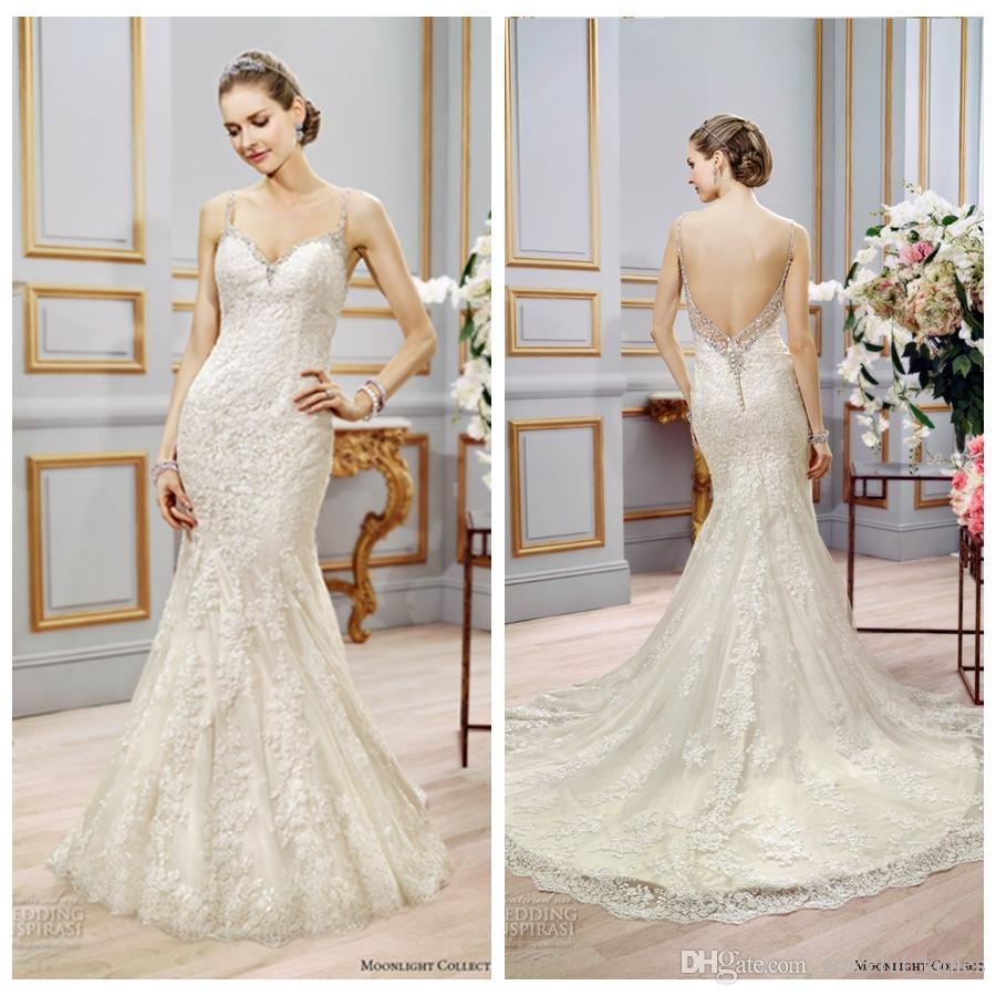 Low Waist Wedding Gowns: Champagne Lace Mermaid Wedding Dress Rhinestones Spaghetti