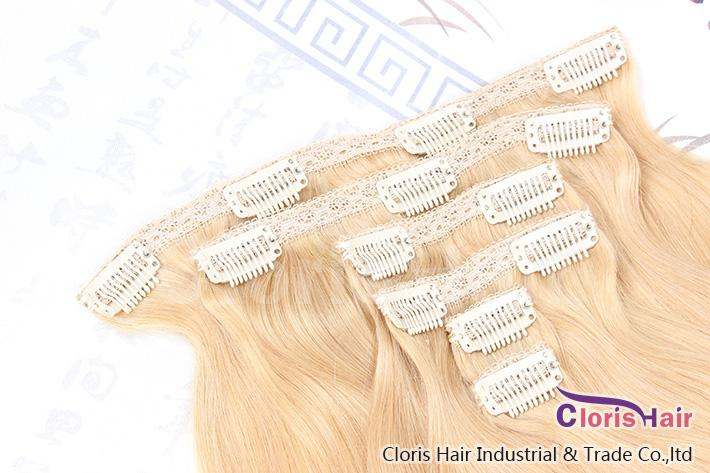 Nouvelle arrivée soyeux droite pleine tête brésilienne Remy Clip dans sur les extensions de cheveux humains # 60 blonde platine / set 70g 18