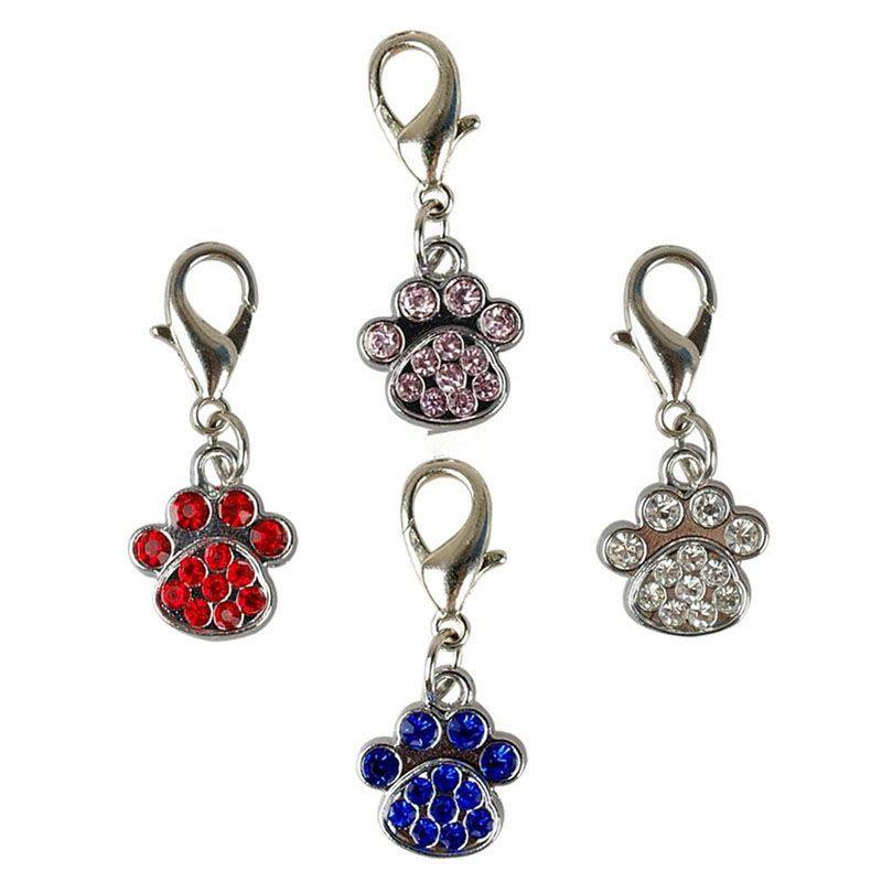 Fashion Paw Tags Pet Pendant Collar Rhinestone Pendant Cute Charms with Hooks Dog Pet Decoration Accessories ZA5428