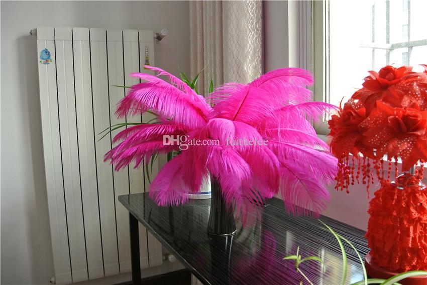 SPEDIZIONE GRATUITA 100 pz / lotto 14-16 pollice 35-40 cm Hot Pink Piume di Struzzo plumes fuchsia centrotavola di nozze arredamento rifornimenti del partito decor