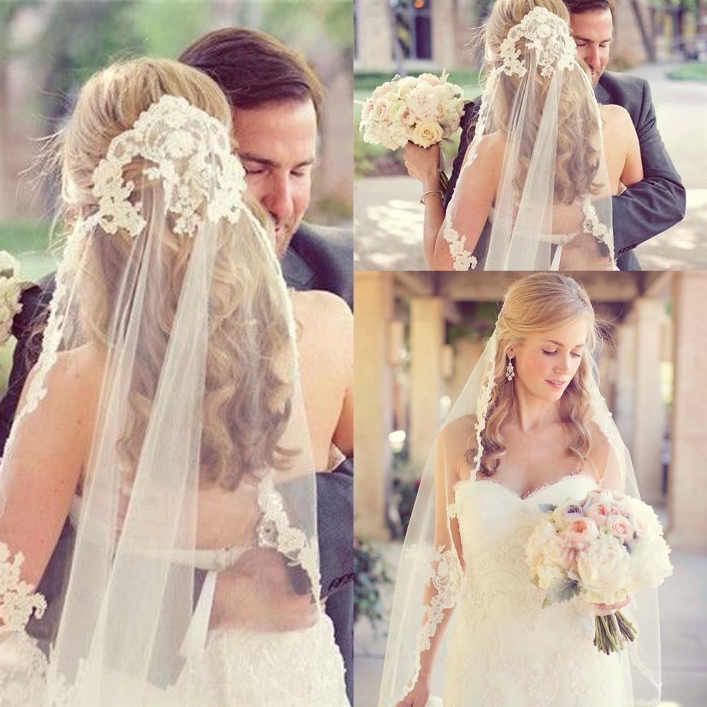Gelin Düğün Veils Ucuz Ücretsiz Kargo Dantel Vintage Beyaz Fildişi Tül Düğün Gelin Peçe Dirsek Uzunluğu Bir Katman Olaylar Resmi Aplikler