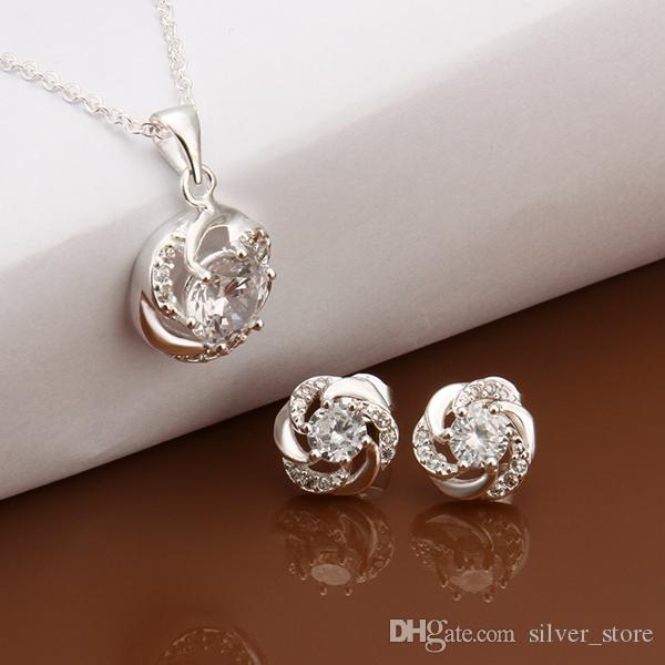 High grade 925 sterling silver Sapphire plant piece jewelry sets DFMSS565 brand new Factory direct sale wedding 925 silver necklace earring