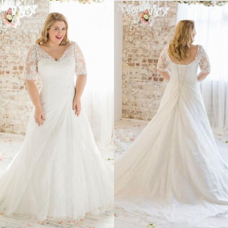 Discount 2016 New Modest Plus Size Wedding Dresses Sleeves V Neck A