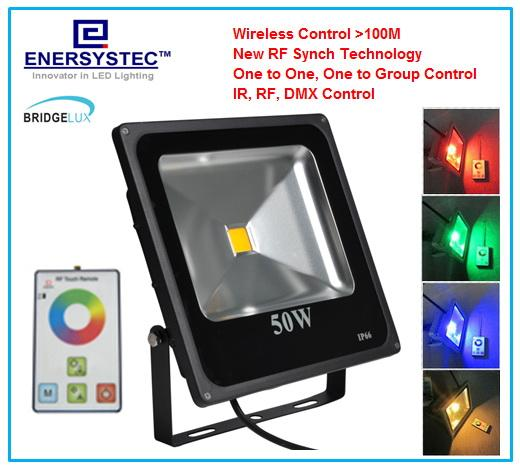 50w rgb led flood light rf wireless control 100 meters outdoor flood lighting ip65 waterproof remote colorful changing landscape lighting outdoor led flood