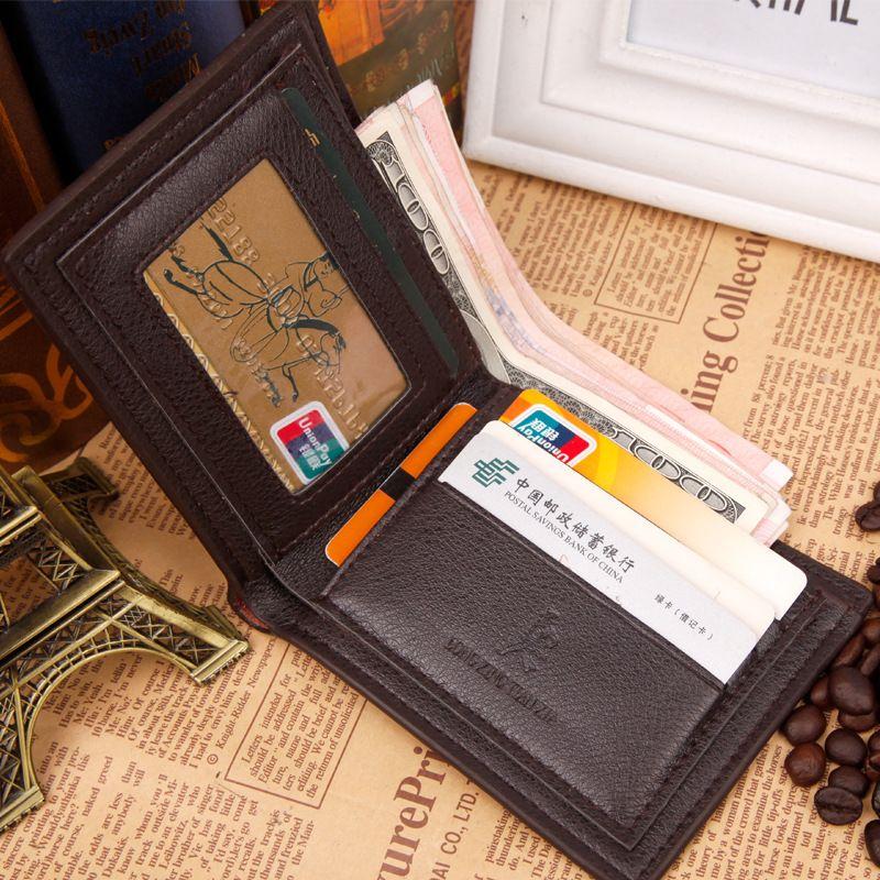 Men Leather Short Wallet Bifold Money Clip Credit Card Holder Business Black Coffee Vertical Horizontal Wallets A347