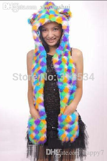 6a27f86e782 2019 Wholesale New Arrival Faux Fur Animal Hats With Long Scarf Mittens Animal  Ears Hoodie Rainbow Hood Winter Hat From Happy7