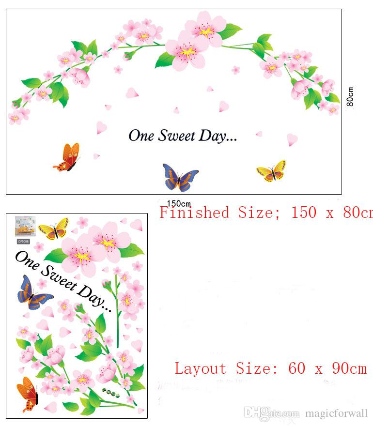 One Sweet Day Pink Cherry Blossom Tree Wall Decor Stickers Decal Flower Floral Wall Stickers con farfalle Wall Art Murales