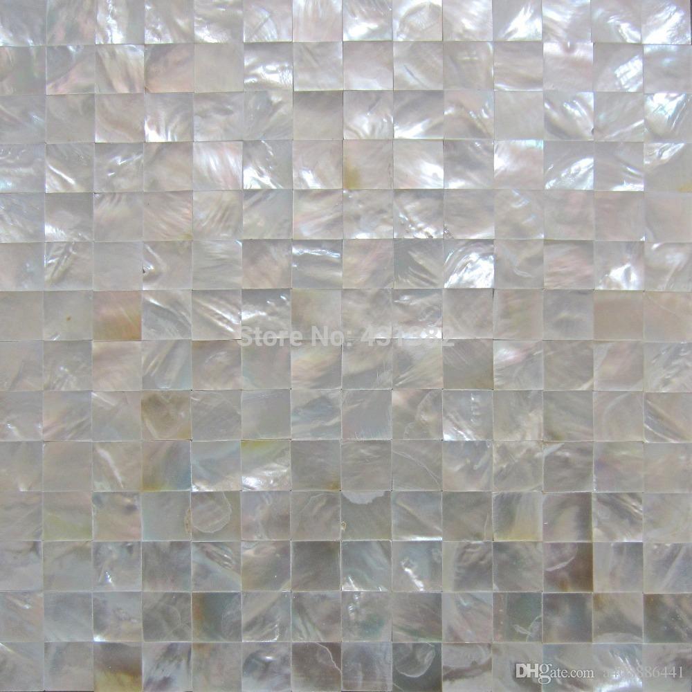 Großhandel Luxus Dekoration Freies Verschiffen 20 * 20mm Nahtlose Whitelip  Shell Mosaik Fliesen Badezimmer Waschraum Wand Fliesen Küche Backsplash Von  ...