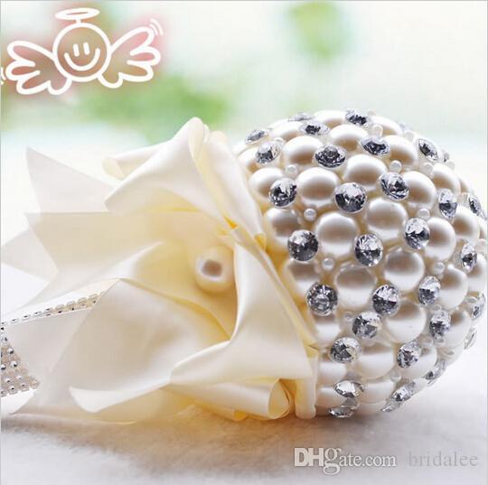 5 색 우아한 진주 결혼식 꽃 미니 신부 부케 크리스탈 스파클 꽃다발 신부 신부 들러리 결혼식 꽃다발
