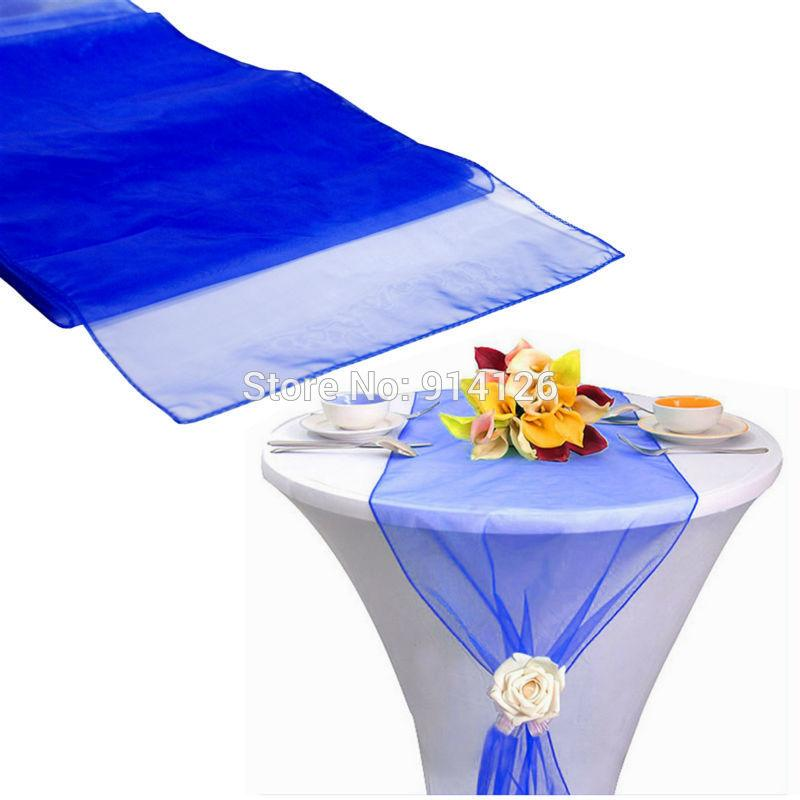 Superbe 12x108 / 30*275cm High Quality Royal Blue Organza Table Runner For Wedding  Decoration Banquet Venue Decoration Navy Blue Lace Table Runner Navy Blue  Table ...