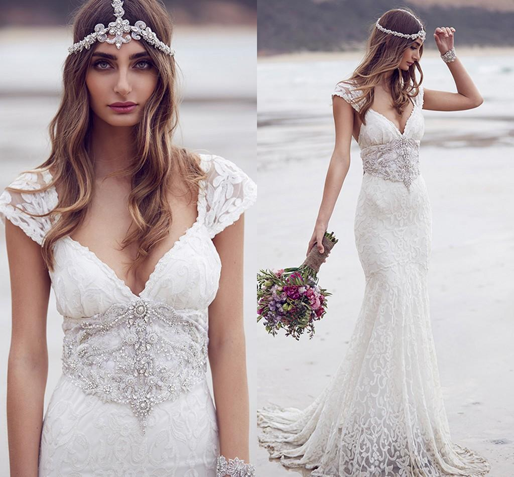 Lace Beach Wedding Dresses Mermaid Style Short Sleeves Deep V Neck